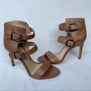 Via Spiga Sexy Brown Leather Buckle High Heels